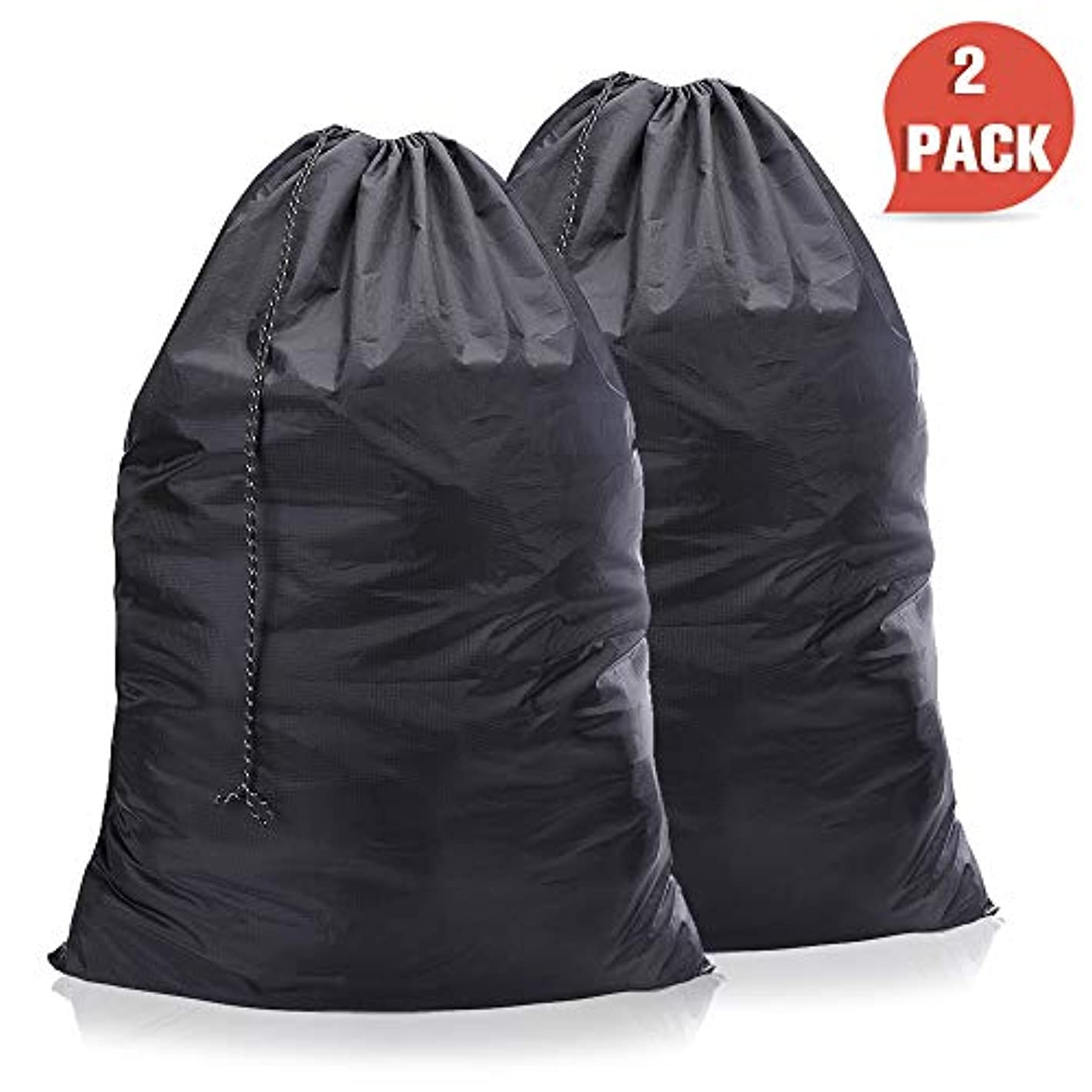WEHE Laundry-Bag-Nylon-Drawstring-Washable Bags, 2 Pack Waterproof Ripstop Laundry Bag Portable Drawstring Closure, Enough Storage Fit All Clothes,Home Laundry Washable Black Bag (New Black)