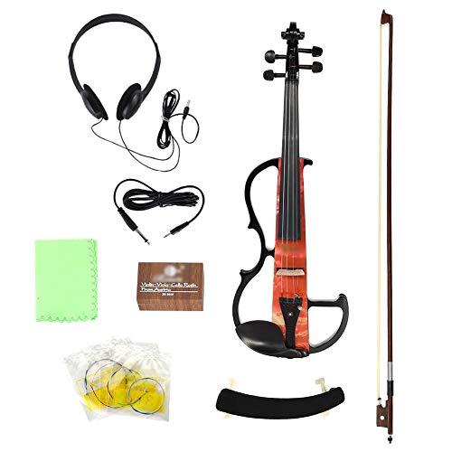 Neufday 【𝐏𝐚𝐬𝐜𝐮𝐚】 Juego de violín de Madera eléctrica, AU-05 Violín eléctrico Madera de Arce Macizo con Accesorios para un Rendimiento Profesional(Naranja)