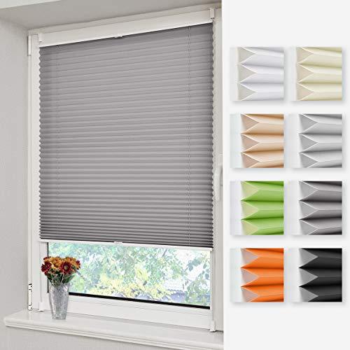 Homland Plissee ohne Bohren Faltrollo Klemmfix Anthrazit 45x150cm(BxH) Jalousien Easyfix Lichtdurchlässig und Blickdicht Sicht-und Sonnenschutz Rollos für Fenster und Tür