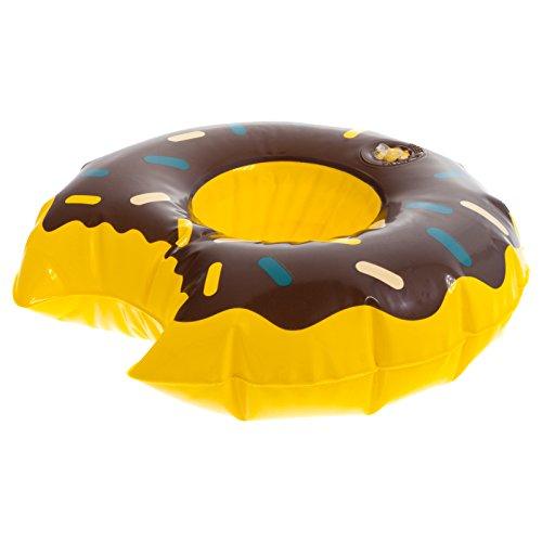 Smartfox Aufblasbarer Getränkehalter Flaschenhalter Dosenhalter Donut Doughnut Krapfen Berliner in braun für Pool See Meer - 19 x 5cm