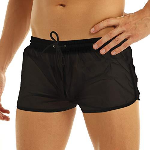 Yeahdor Boxershorts Herren Semi-Transparent Slip Sexy Shorts Atmungsaktive Bikinislip Badeshorts mit Taschen Unterwäsche für Schwimm Poolparty Schwarz M