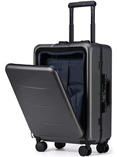 Roam.Cove NEW スーツケース 軽量 機内持ち込み キャリーケース キャリーバッグ 静音 ビジネス フロントオープン 日乃本キャスター TSAロック 出張 シンプル おしゃれ RC-SU058 (グレー, 約36L,2~3泊)