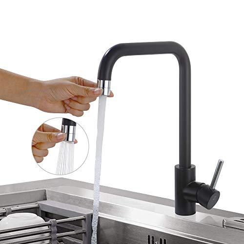 HOMELODY 360°Giratorio Grifo para Fregadero Doble Grifo de Cocina Monomando Grifería de Mezclador Agua de Fría y Caliente 2 Funciones Protección Ambiental Grifo de Alta Presión Negro