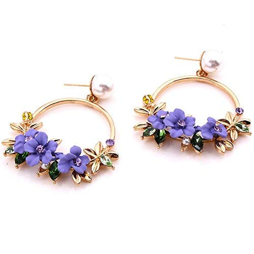 E-Z Stilvolle Einfachheit Geschenkidee für Frauen Stilvolle Ohrringe Farbe Parkett Rand Perlenohrringe mit Ohrnagel Mädchen p