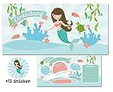 CardWheels 12 Einladungskarten Meerjungfrau zum Kindergeburtstag + 13 Aufkleber GRATIS - Mädchen / Party Mitgebsel Geburtstagseinladungen Karten Geburtstag Kinder