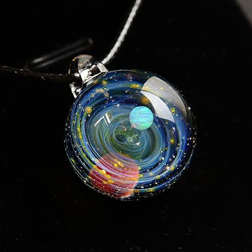 Collar con colgante de cristal de galaxia, gargantilla de cristal del universo, regalo único para mujeres