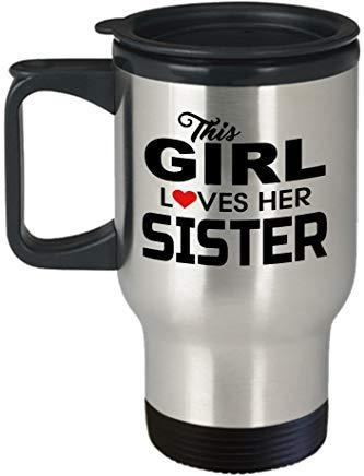 Queen54ferna Tazas de viaje para hermanas – Taza de viaje – Regalo para hermanas – Mejor hermana – Taza de viaje – Esta chica ama a su hermana