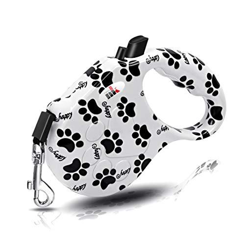 Makife Einziehbar Hundeleine Rollleinen für Hunde 5m für Kleine Mittlere Große Hunde bis 30kg - Schwarz & Weiß