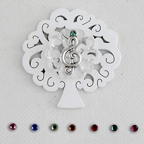 DLM-27107 (Kit 12 Pezzi) Calamita Albero della Vita e Blasone in Cristallo Chiave di Violino sol Musica Confettata Segnaposto bomboniera