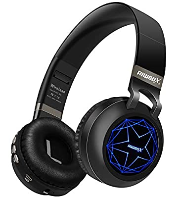 Riwbox WT-8S Bluetooth Headphones, Led Light Up Wireless Headphones Over Ear Hi-Fi Stereo Foldable Wireless/Wired Headsets With Mic And TF-Card Compatible for iphone ipad Kindle Laptop TV (Black) from Riwbox