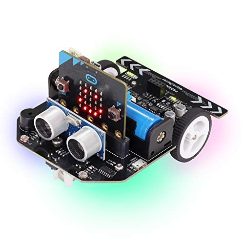 Freenove Micro:Rover Kit for BBC Micro:bit (Contained), Obstacle Avoidance, Light-tracing, Line-Tracking, Remote Control, Playing Melody, Colorful Lights, Rich Projects, Blocks and Python Code