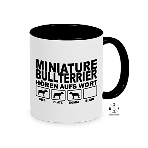 Siviwonder Tasse Kaffeebecher Miniature Bullterrier Hören aufs Wort Hund Hunde Fun schwarz