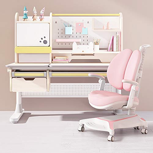 FCD Large Real Wood Adjustable Kids Study Desk Ergonomic Multi Function Drafting Table with Ergonomic Study Chair and Eye Protection Lamp (Desk+Pink Chair+Light)