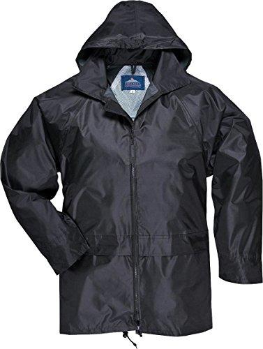 New Portwest Unisex Adult Classic Rain Jacket Zip Fastening Waterproof Hood Coat Black Small