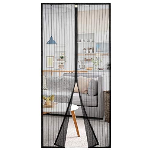 Homitt Magnet Fliegengitter Tür 100×210cm, Insektenschutz Fliegenvorhang, Magnetvorhang für Balkontür, Kellertür und Terrassentür, Ohne Bohren, Schwarz, 100210