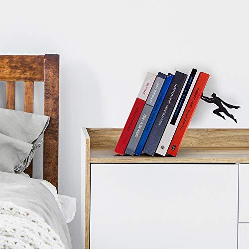 Product Image 7: Decorative Bookends for Shelf or Desk – Black Metal Book Ends – Superhero Bookend – Book Ends for Office – Cool Super Hero Book Stopper / Book Holder / Shelf Dividers – Book & Hero by Artori Design
