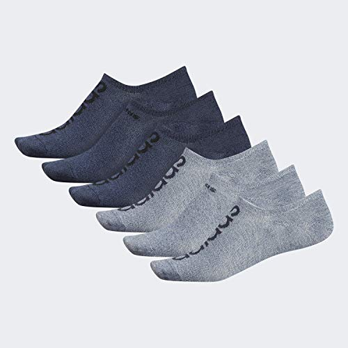 adidas Men's Superlite Linear Super No Show Socks (6-Pair), Ash Silver - Tech Ink Grey Marl/Legend Ink Blue Lege, Large, (Shoe Size 6-12)