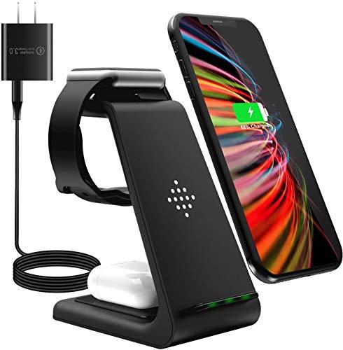 【2021年最新】ワイヤレス充電器 3 in 1 Qiスマホ機種全対応 急速充電器 QC3.0アダプター付属 TYPE-C Apple Watchスタンド Airpods充電器/Apple Watch充電器 iPhone 12 Pro Max/12 Pro/12/SE2/iPhone 11/11 Pro/11 Pro Max/iPhone 8/8Plus/iPhone X/XS/XR/X Max Apple Watch 2/3/4/5/6/SE Airpods 2/Pro Galaxy S10/S10 Plus/S10e/Note10/Galaxy S9/S9 Plus/Note8/S8/S8 Plus/S7/S7 Edge/S6 Edge Plus   (ブラック)