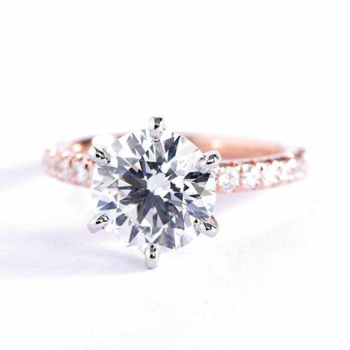 Anillo de compromiso de diamante de corte redondo de 1,75 quilates, VS2 D, 6 puntas, oro rosa de 18 quilates.