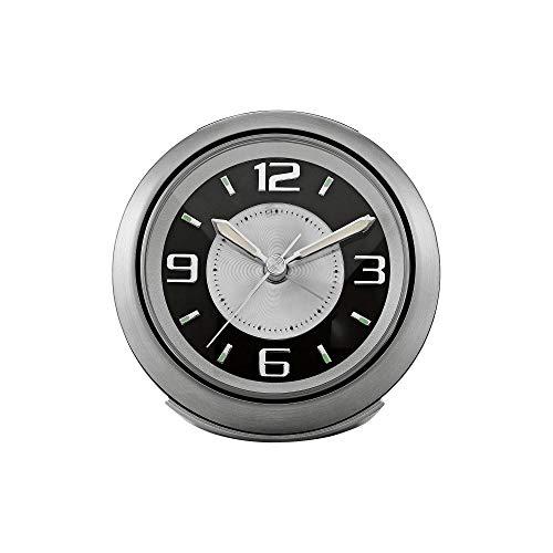"Bulova Light Night Brushed Silver 3 3/4"" W Alarm Clock"