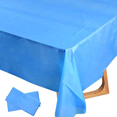 2pz (137x274cm) Tovaglie Plastificata Rettangolare Impermeabile Copritavolo Antimacchia per Tavolo Decorazione per Festa Laurea Battesimo Compleanno Casa Cucina Cena Party Tavola (Blu Marino)