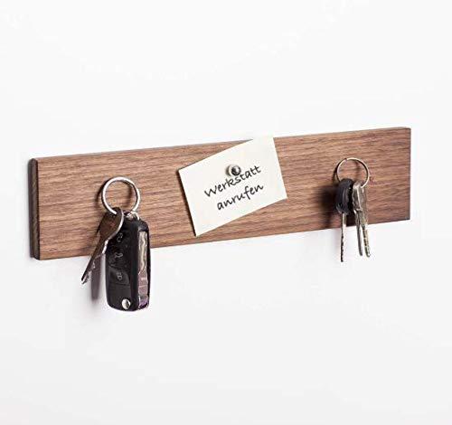 WOODS Colgador de llaves de madera magnético I Soporte para llaves I Barra magnética I Decoración de pared de madera hecha a mano en Baviera I Colgador de llaves Home I Soporte para llaves (nogal, 30 cm)