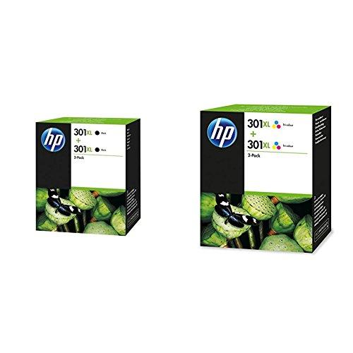 HP 301XL Cartuccia Originale ad Alta Capacità, per Stampanti a Getto di Inchiostro HP DeskJet 1050, 2540 e 3050, OfficeJet 2620 e 4630, ENVY 4500 e 5530, Confezione da 4, 2xNero/2xTricromia
