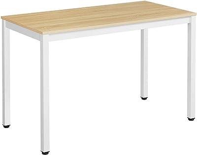 VASAGLE Mesa de Ordenador Mesa de Estudio Mesa de Comedor 120 x 60 x 76 cm Madera Natural y Blanco LWD64N