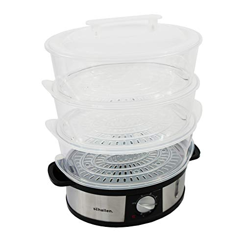 Schallen Healthy Cooking Electric Large 12L Capacity 3 Tier Rice Meat Vegetable Food Steamer | Stainless Steel | 60 Minute Timer