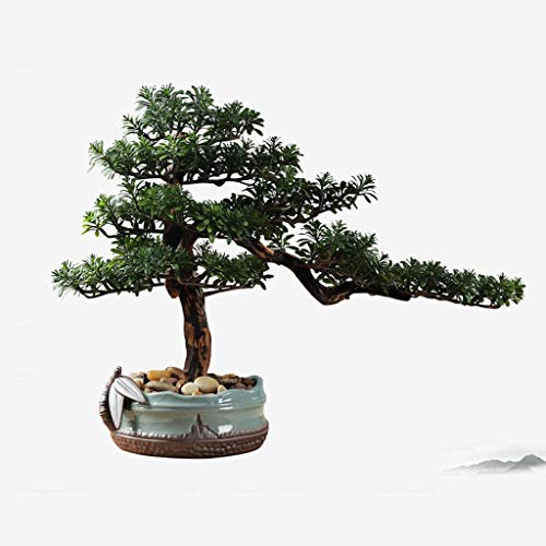 SBDLXY Artificial Plants Realistic Faux Cedar Bonsai Tree, Houseplant, Round Ceramic Flower Pot, Pebbles,Artificial Potted Artificial Tree