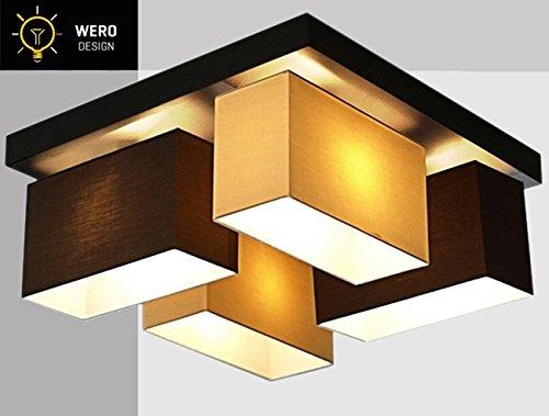 Plafonnier Wero Design Vitoria-001 - 4 ampoules - En bois et plastique - Chromé - Couleur : brun/cappuccino