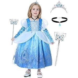 Augwindy シンデレラドレス プリンセスドレス 子供 ティアラ ネックレス アームカバー 豪華 4点セット 4層構造 お姫様 ワンピース キッズコスチューム プリンセスなりきり ハロウィン 誕生日 発表会 120
