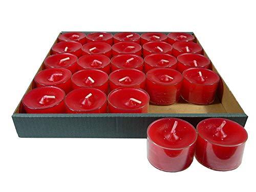 Lot de 25 petites bougies à chauffe-plat en acrylique, ««, rubis/rouge-jusqu'à 8 heures d'autonomie, transparente, boîtes-sonderposten plastikhülle **
