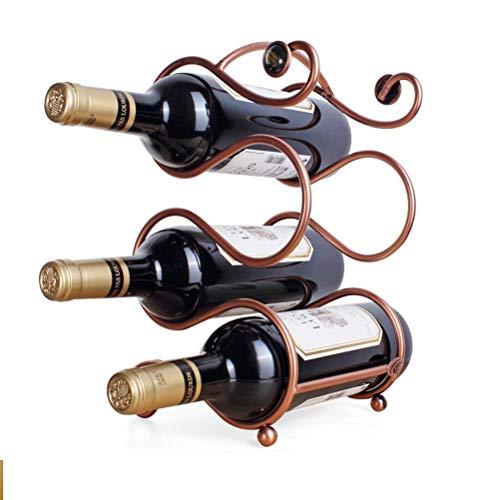 Estantes de Vino Estantes de Vino de Metal Encimera/Sobremesa Soportes de Almacenamiento de Vino Soportes Independientes Diseño Moderno y Minimalista Bronce