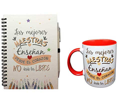 PACK TAZA Y LIBRETA con frase LAS MEJORES MAESTRAS ENSEÑAN DESDE EL CORAZON NO DESDE LOS LIBROS REGALO PROFE, REGALO MAESTRA