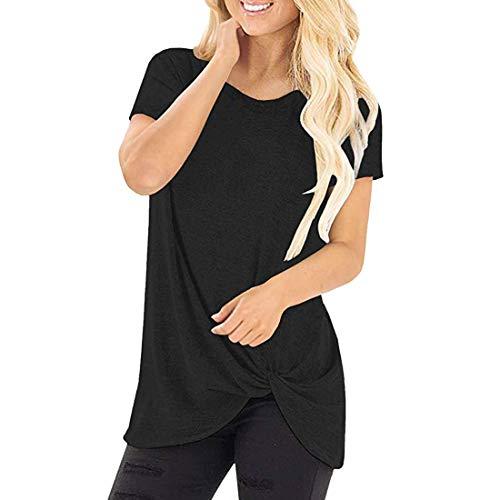 Camiseta de Mujer Verano Suelta de algodón Sudadera de Manga Corta Bloque de Color Cuello Redondo Dividida Lateral Túnica de Mujer de Color asimétrico Blusa Cuello Redondo Camisa Larga Tops Casuales