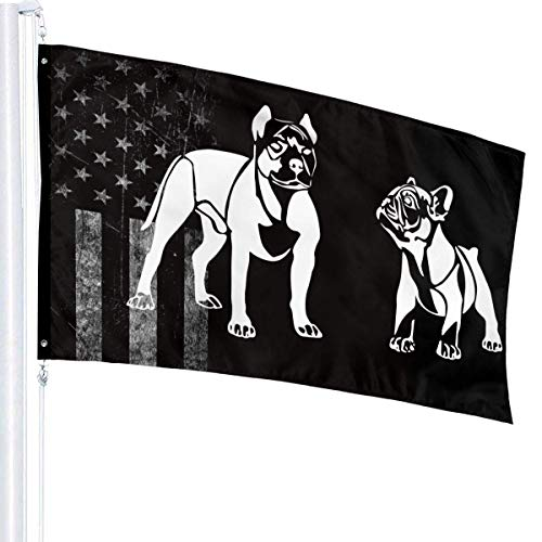 American Pit Bull Terrier French Bulldog Flags 3x5 Fit for Lawn Patio Yard Garden Terrace Balcony Durable Dorm Room Home Outdoor Decor Fade Resistant Banner for Festival Holiday Gala Ceremony