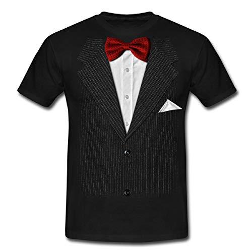 Falscher Anzug Mit Fliege Scherz Männer T-Shirt, XL, Schwarz