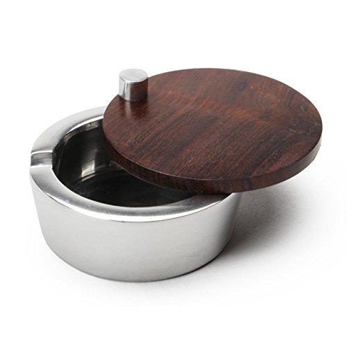 フタ付き灰皿 アルミアッシュトレイ ウッドカバー Aluminium ash tray woodcover