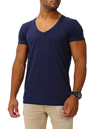 Joe Franks Herren Basic T-Shirts V-Neck DEEP Herren Slim Fit, Blau, L