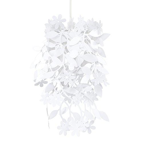 MiniSun - Preciosa pantalla para lámpara de techo con flores y plantas - color blanco