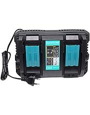 FengWings® Cargador Reemplazar Compatible para Cargador Makita DC18RD 196933-6 DC18RC Cargador rápido Cargador doble para batería Makita 14.4V BL1415 BL1430 y 18V BL1815 BL1830 B BL1840B