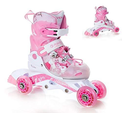 RAVEN 3in1 Kinder Inline Skates Triskates/Rollschuhe Princess Größe: 26-29 (16cm-18cm)