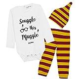 Harry Potter Ropa Bebe Niño Niña, Conjunto Body Bebe Manga Larga Pantalon y Gorro, Ropa 100% Algodon Recien Nacido Regalo Bebe Niño y Niña 0-18 Meses (Rayas Granates, 6-9 Meses)
