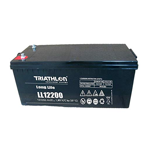 Triathlon Long Life AGM Batterie 12Volt 200AH wartungsfreier verschlossener VLRA 12Jahres Akku(Valve Regulated Lead Acid)