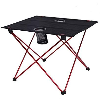 HeavenBird Lightweight Foldable Fold Up Portable Camping Fishing Folding Table With Cup Aluminum Alloy Holders
