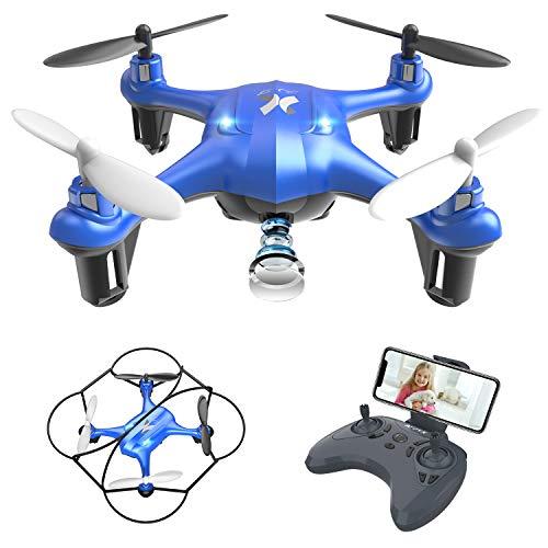 Mini Drohne mit HD Kamera Wi-Fi App Steuerung Live Übertragung Automatische Höhenhaltung, Headless Modus 3D Flip Helikopter Ferngesteuert für Anfänger und Kinder (Blau) AT-96