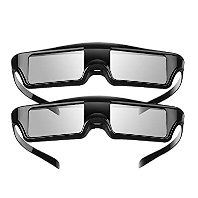 Elikliv 3D Glasses Active Rechargeable Blue Tooth 3D Shutter Glasses Compatible with Sony Epson Projectors, PowerLite Home Cinema (Pack 2)