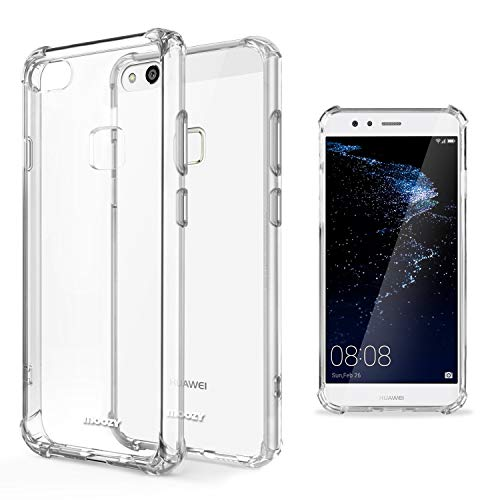 Moozy Funda Silicona Antigolpes para Huawei P10 Lite - Transparente Crystal Clear TPU Case Cover Flexible