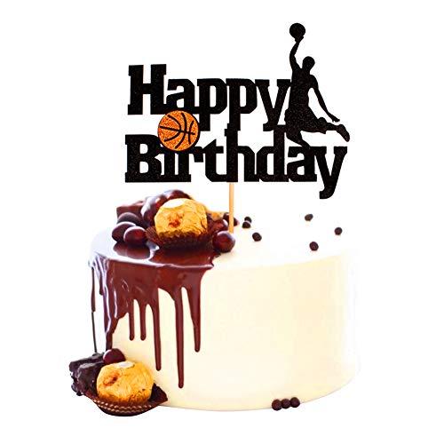 Unimall 1 Stück Basketball Cake Topper Basketball-Szene Themen Kuchen Obst Picks für Mann Jungen Geburtstag Event Party Supplis Black Glitter Dekorationen